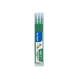 Pilot Recharge pour stylo roller encre gel effaçable FriXion Ball et FriXion Clicker pointe moyenne 0,7 mm vert - Pochette de 3