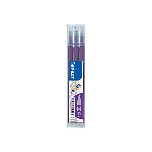 Pilot Recharge pour stylo roller encre gel effaçable FriXion Ball et FriXion Clicker pointe moyenne 0,7 mm violet - Pochette de 3