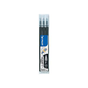 Pilot Recharge pour stylo roller encre gel effaçable FriXion Clicker pointe fine 0,5 mm noir - Pochette de 3
