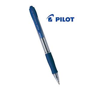 Pilot Super Grip Penna a sfera a scatto, Punta fine da 0,7 mm, Fusto trasparente con grip, Inchiostro blu (confezione 12 pezzi)
