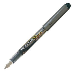 Pilot V-Pen, stylo-plume, pointe moyenne de 0,4mm, corps gris, encre bleue