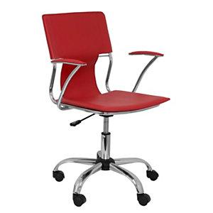 PIQUERAS Y CRESPO Bogarra Silla de oficina, piel reconstituida, altura 86-95 cm, rojo