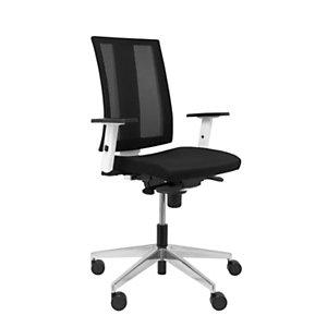 PIQUERAS Y CRESPO Cózar Silla de oficina, malla y tela, altura 98-118 cm, negro y blanco