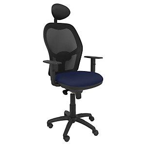 PIQUERAS Y CRESPO Jorquera Silla de oficina, malla y tela, altura 103-113 cm, azul marino y negro