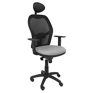 PIQUERAS Y CRESPO Jorquera Silla de oficina, malla y tela, altura 103-113 cm, gris y negro