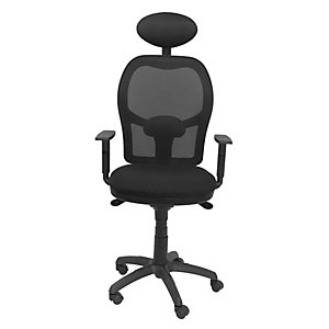 PIQUERAS Y CRESPO Jorquera Silla de oficina, malla y tela, altura 103-113 cm, negro