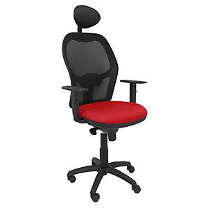 PIQUERAS Y CRESPO Jorquera Silla de oficina, malla y tela, altura 103-113 cm, rojo y negro