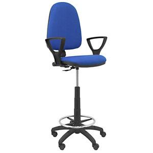 PIQUERAS Y CRESPO Taburete ergonómico Ayna con mecanismo de contacto permanente, regulable en altura, reposapiés y brazos fijos, azul
