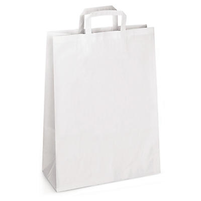 Plain white paper carrier bags with folded handles