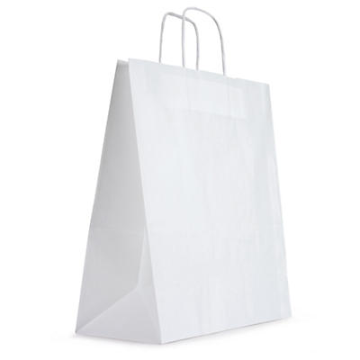 Plain white paper carrier bags with twisted handles