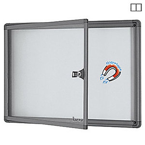 Planorga Mini vitrine d'extérieur cadre aluminium, fond métal laqué magnétique, 2 feuilles A4