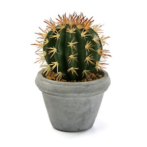 Planta artificial cactus tallo globo, maceta cemento, 14 ø x 20,3 cm