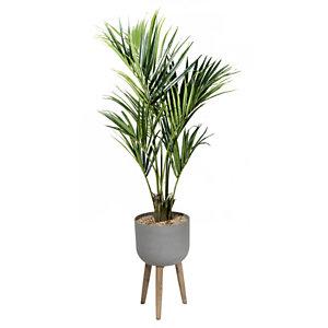 Plante artificielle - Composition palmier - Pot gris sur piètement bois