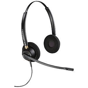 Plantronics EncorePro HW520 Auriculares ajustables con cable y micrófono, diseño de diadema, función de cancelación de ruido, negro