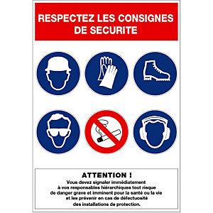 Plaque de signalisation des consignes de sécurité 46 x 32 cm