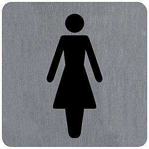 Plaquette normalisée de signalisation en alu brossé, toilettes femme 10 x 10 cm