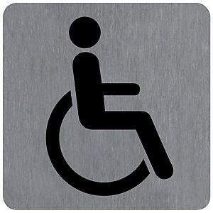 Plaquette normalisée de signalisation en alu brossé, toilettes pour handicapé 10 x 10 cm