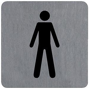 Plaquette normalisée de signalisation en alu brossé, toilettes homme 10 x 10 cm
