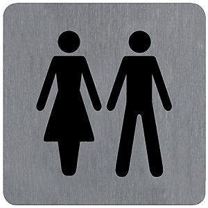 Plaquette normalisée de signalisation en alu brossé, toilettes homme et femme 10 x 10 cm