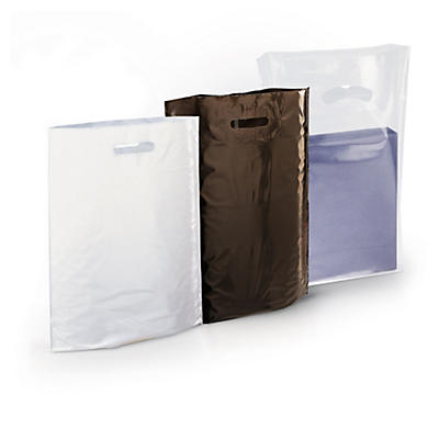 Sac plastique à poignées découpées et soufflets Raja##Plastic draagtas met gestanste handgrepen en blokbodem Raja