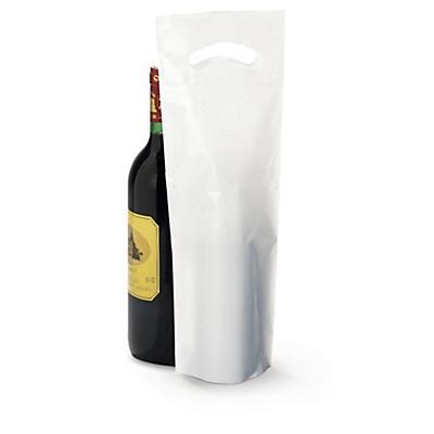 Sac plastique uni pour bouteille##Plastic draagtas met gestanste handvatten voor fles