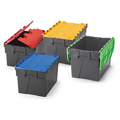 Plastkasser i europeisk standard med farget lokk
