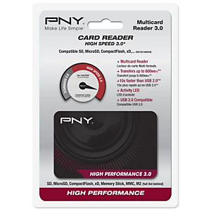 PNY High Performance Reader 3.0, CF, Clé USB (MS), MicroSD (TransFlash), microSDHC, microSDXC, miniSD, miniSDHC, MMC, MMC Mobile,..., Noir, 5000 Mbit/s, USB 3.2 Gen 1 (3.1 Gen 1), USB FLASHREAD-HIGPER-BX