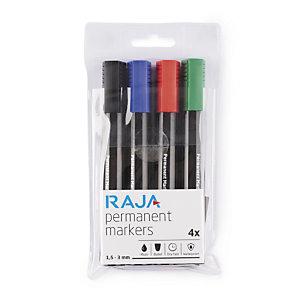 Pochette de 4 marqueurs permanents pointe conique RAJA