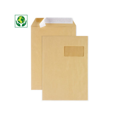 Pochette administrative en kraft brun à fermeture adhésive##Bruine akte-envelop met zelfklevende sluiting met beschermstrip
