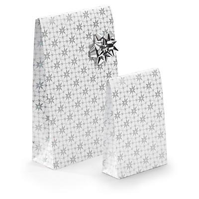 Pochette blanc à fleurs##Wit geschenkzakje met bloemen