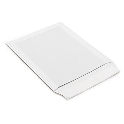 Pochette blanche à dos en carton##Versandtaschen mit Papprückwand weiss
