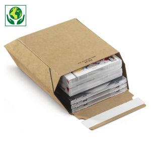 Pochette-boîte carton micro-cannelé brune à fermeture adhésive RAJA