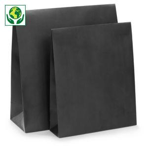 Pochette cadeau kraft noir à fermeture adhésive avec larges soufflets