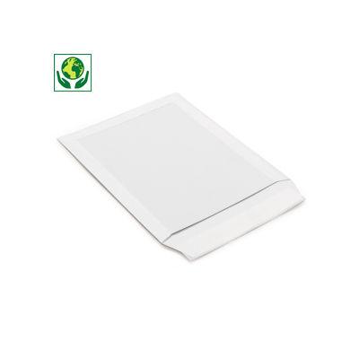 Pochette à dos en carton blanc avec fermeture adhésive