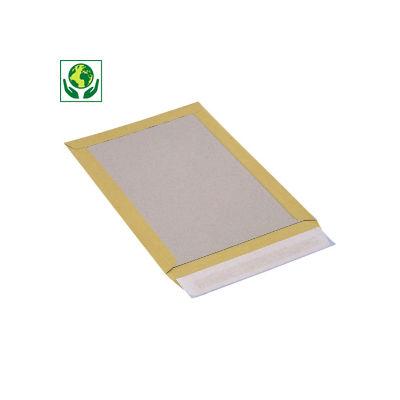 Pochette à dos en carton brun avec fermeture adhésive##Bordrugenvelop met zelfklevende sluiting