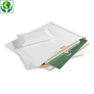 Pochette carton micro-cannelé rigide blanche à fermeture adhésive RAJA