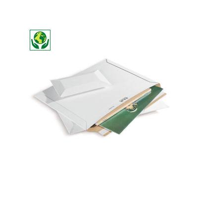 Pochette carton microcannelure rigide blanche à fermeture adhésive RAJA