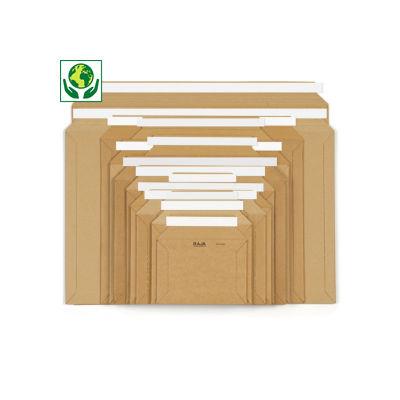 Pochette carton microcannelure rigide brune à fermeture adhésive RAJA
