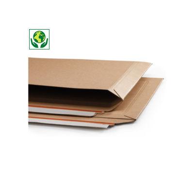 Pochette carton plat 100% recyclé brune à fermeture adhésive ouverture grand côté