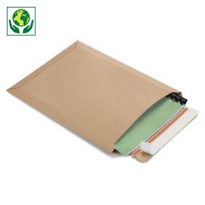Pochette carton plat 100% recyclé brune à fermeture adhésive ouverture petit côté