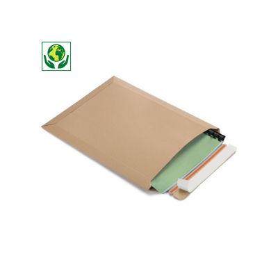 Pochette carton plat brune à fermeture adhésive - ouverture petit côté##Bruine vlakkartonnen envelop met zelfklevende sluiting - opening korte zijde