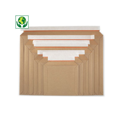 Pochette carton plat à fermeture adhésive##Vlakkartonnen envelop met zelfklevende sluiting - opening lange zijde