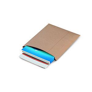 Pochette carton plat recyclée brune fermeture bande adhésive - l.int .22,8 x H.32,8 cm