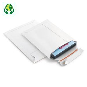 Pochette carton recyclé blanche à fermeture adhésive
