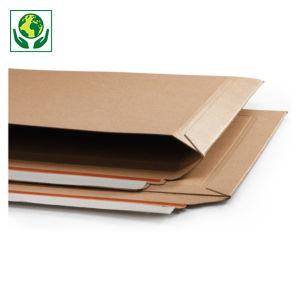 Pochette carton recyclé brune à fermeture adhésive ouverture grand côté