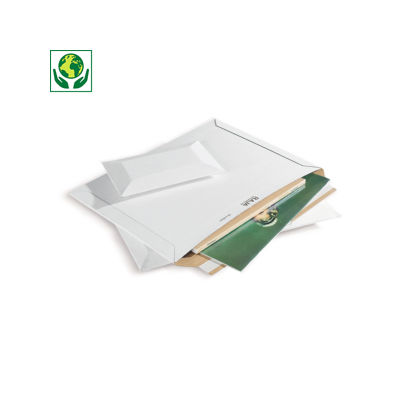 Pochette carton rigide à fermeture adhésive blanche Raja##Versterkte kartonnen envelop met zelfklevende sluiting wit Raja