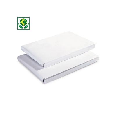 Pochette kraft blanc auto-adhésive à soufflets sans fenêtre