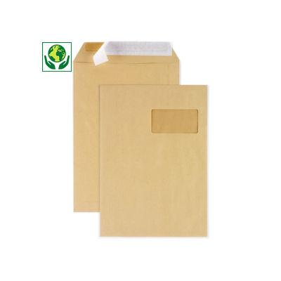 Pochette kraft brune auto-adhésive avec/sans fenêtre