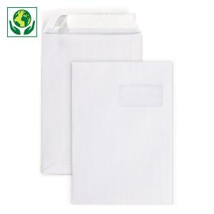 Pochette papier blanche auto-adhésive avec fenêtre