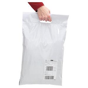 """Pochette plastique opaque """"aller-retour"""" 30% recyclé avec poignée 60 microns RAJA"""